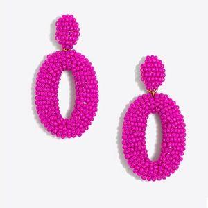 Fuchsia Beaded Oval Dangle Statement Earrings